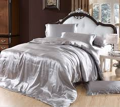 Silver bedding sets grey silk satin California king size queen ... & Silver bedding sets grey silk satin California king size queen double quilt  duvet cover fitted bed sheets bedspreads doona 5pcs-in Bedding Sets from  Home ... Adamdwight.com