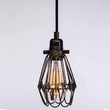 industrial vintage teardrop cage with hook black gold hanging with hoop holder fabric cable pendant ceiling rose