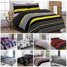 details about duvet cover set single double super king size bedding bed flower check stripe