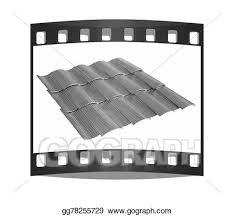 Stock Illustration Gold 3d Roof Tiles The Film Strip Clipart