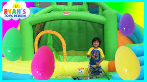 HUGE EGGS SURPRISE TOYS CHALLENGE Inflatable water slide Disney.