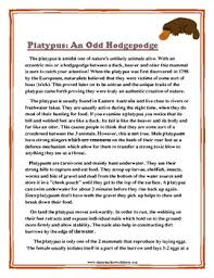 Maybe you would like to learn more about one of these? Reading Comprehension Grade 6 6th Grade Non Fiction Story Platypus