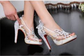 glass wedding shoes. crystal wedding shoes high heels peep pumps bowknot red bottom limited cinderella glass slipper sandals h