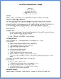 Intermediate Accountant Resume Examples Junior By Mary Jane Best