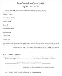 Resume Free Printable Nursing Resume Template Examples Creative