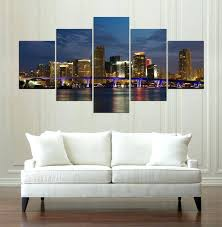 wall arts panoramic canvas wall art night panorama painting game 5 pieces prints home decor