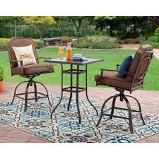 tall bistro table. Mainstays Wentworth 3 Piece High Outdoor Bistro Set Seats 2 Throughout Table Prepare 11 Tall