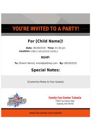Birthday Party Invitations Family Fun Center