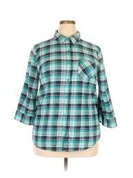 Details About Falls Creek Women Blue Long Sleeve Button Down Shirt 1x Plus