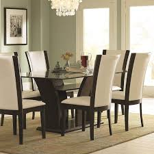 Small Picture Trent Home Daisy Rectangular Glass Top Dining Table in Espresso