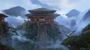 Japanese Temple Mountains Fantasy Art ...