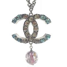 authentic chanel turquoise clear crystal cc pink glass large pendant necklace