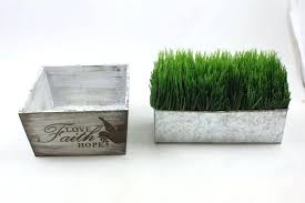 faux grass decor w rustic wood box wall