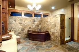 bathroom floor tile ideas rustic rustic modern bathroom ideas with copper bathtub under brushed nickel chandelier