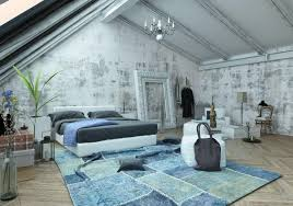 luxurious attic bedroom with vaulted ceiling modern furniture blue rug unfinished wall