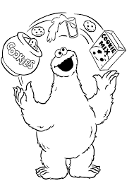 Cookie Monster Juggling With Cookie Material Coloring Pages