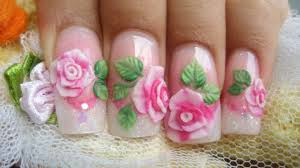 How to make pink 3D acrylic roses cute glitter nails kawaii - YouTube