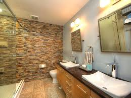 rustic stone bathroom designs. Stylish Gray Bathroom With Rustic Stone Accent Wall Hgtv And  Blue Cabinets Rustic Stone Bathroom Designs