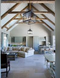 Cathedral ceilings with exposed beams. White washed, bright ...