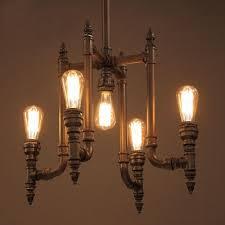 industrial vintage 5 light pipe chandelier 21 6 w in black finish