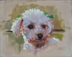 patrick saunders fine arts dog portrait painting oil on canvas bernie s poodle