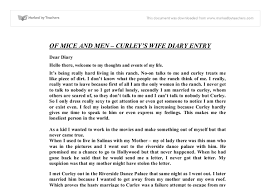 of mice and men curley tm s wife diary entry gcse english  document image preview