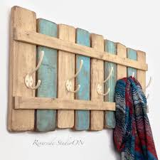 Cottage Coat Rack XL Rustic Wood Coat Rack Nautical Blue OOAK Coat Hook Shabby 64