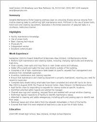 Professional Maintenance Porter Templates to Showcase Your Talent ... Resume Templates: Maintenance Porter