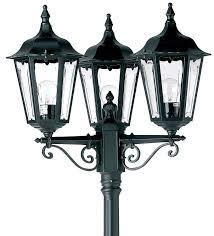 traditional black 3 head garden lamp post