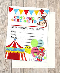Carnival Birthday Invitations Amazon Com Circus Party Invitations Fill In Blank Flat