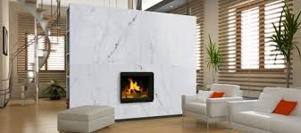 View in gallery Cozy modern living room with a marble fireplace