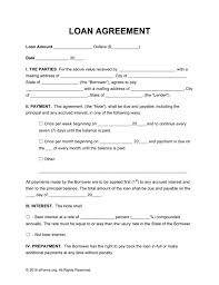 Free Loan Agreement Free Loan Agreement Templates Pdf Word Eforms Free Legal 69