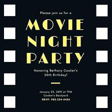Movie Night Invitation Templates Custom Party Invitations Online Movie Birthday Party Invitations