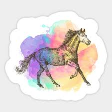 colorful horse gift horse racing riding sticker