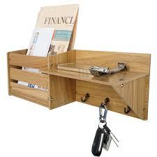 wooden mail key organizer rack letter shelf wall mounted entryway hooks storage 1 of 4free