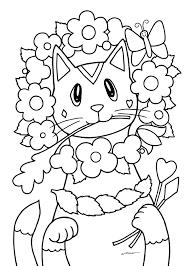 無料ダウンロードぬりえ 13猫キャラの顔いっぱい花飾り カフェデ