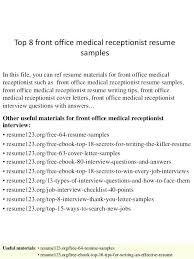 Spa Receptionist Resume Best Sample Medical Receptionist Resume Resume Receptionist Medical