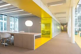 Yellow Office Yellow Color Pop Corporate Office Space In 2019 Office