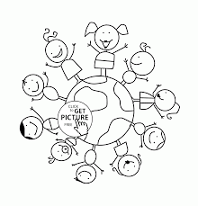 Small Picture Smiling Kids on Earth Day coloring page for kids coloring pages