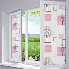 Modern 3d Effect Cube And Tree Background Diy Privacy Glass Window Tinted Window Shading Film Tint Pink
