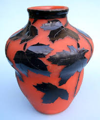 degue large cameo glass vase leaves orange excellent for