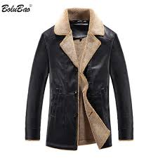 bolubao leather jacket men casual outwear motorcycle jacket male fur coat thick velvet turndown collar faux