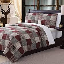Amazon.com: 3 Piece Rustic Red Grey Tan Queen Quilt Set, Plaid ... & 3 Piece Rustic Red Grey Tan Queen Quilt Set, Plaid Tartan Patchwork Themed  Bedding Cottage Adamdwight.com