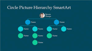 Circle Picture Hiearchy Organization Chart Slide White On