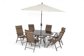 brown 6 seater garden dining patio set with parasol 150cm table folding chairs