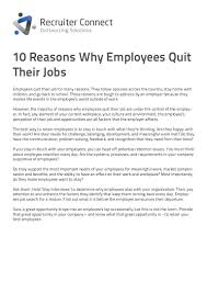 10 reasons employees quit their jobs