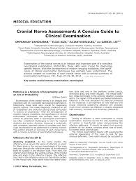 Pdf Cranial Nerve Assessment A Concise Guide To Clinical