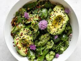smashed cuber salad with sesame and