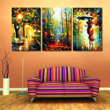 3 piece painting decor canvas painting abstract oil 3 piece street light tree wall pictures for