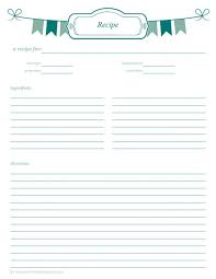 full page recipe templates binder